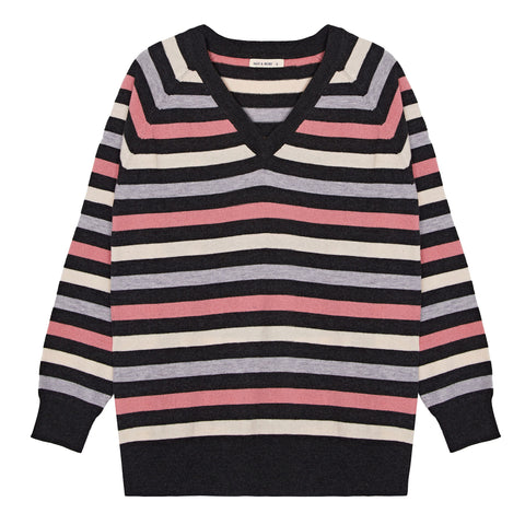 Stripe V Neck Merino Jumper