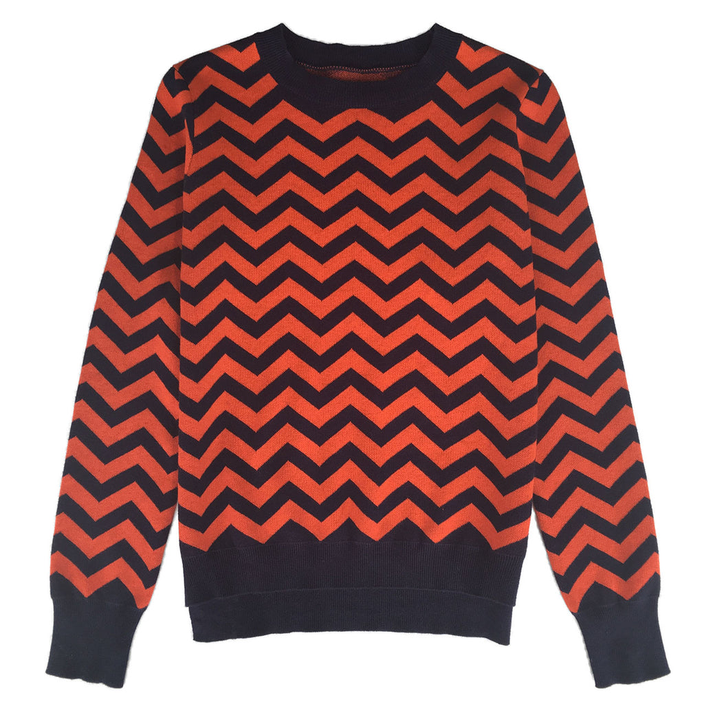 Womens cotton cashmere merino wool chevron jumper