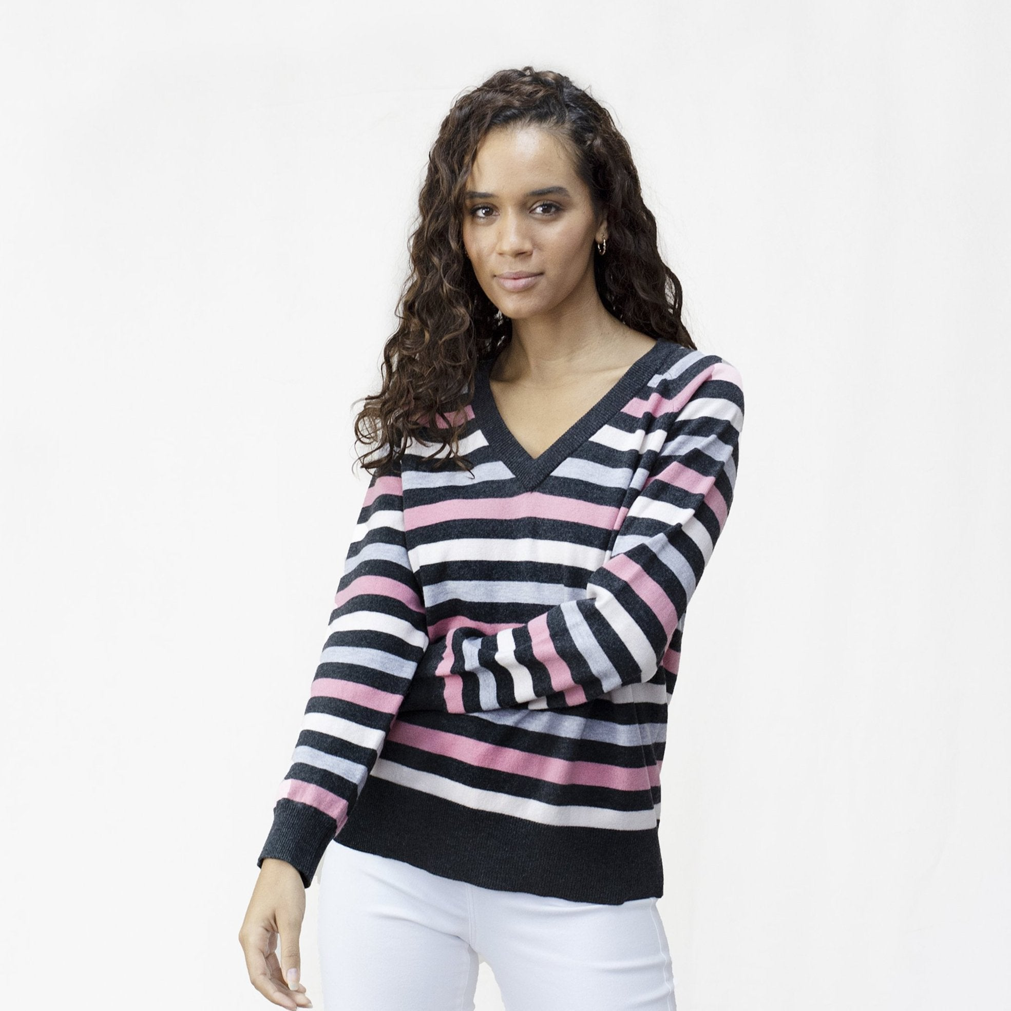 Women's V Neck Striped Merino Jumper