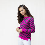 Women's Cotton Cashmere Wool Chevron Crew Neck Jumper