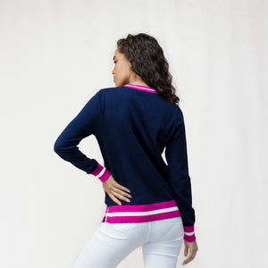 Women's Contrast Crew Neck Jumper in Cotton Cashmere blend.