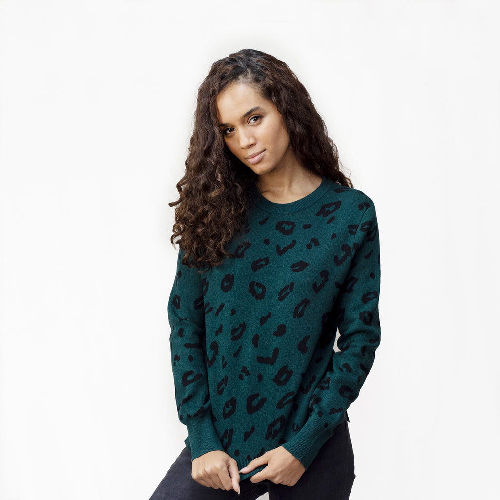 Leopard Print Jumper in Forest Green