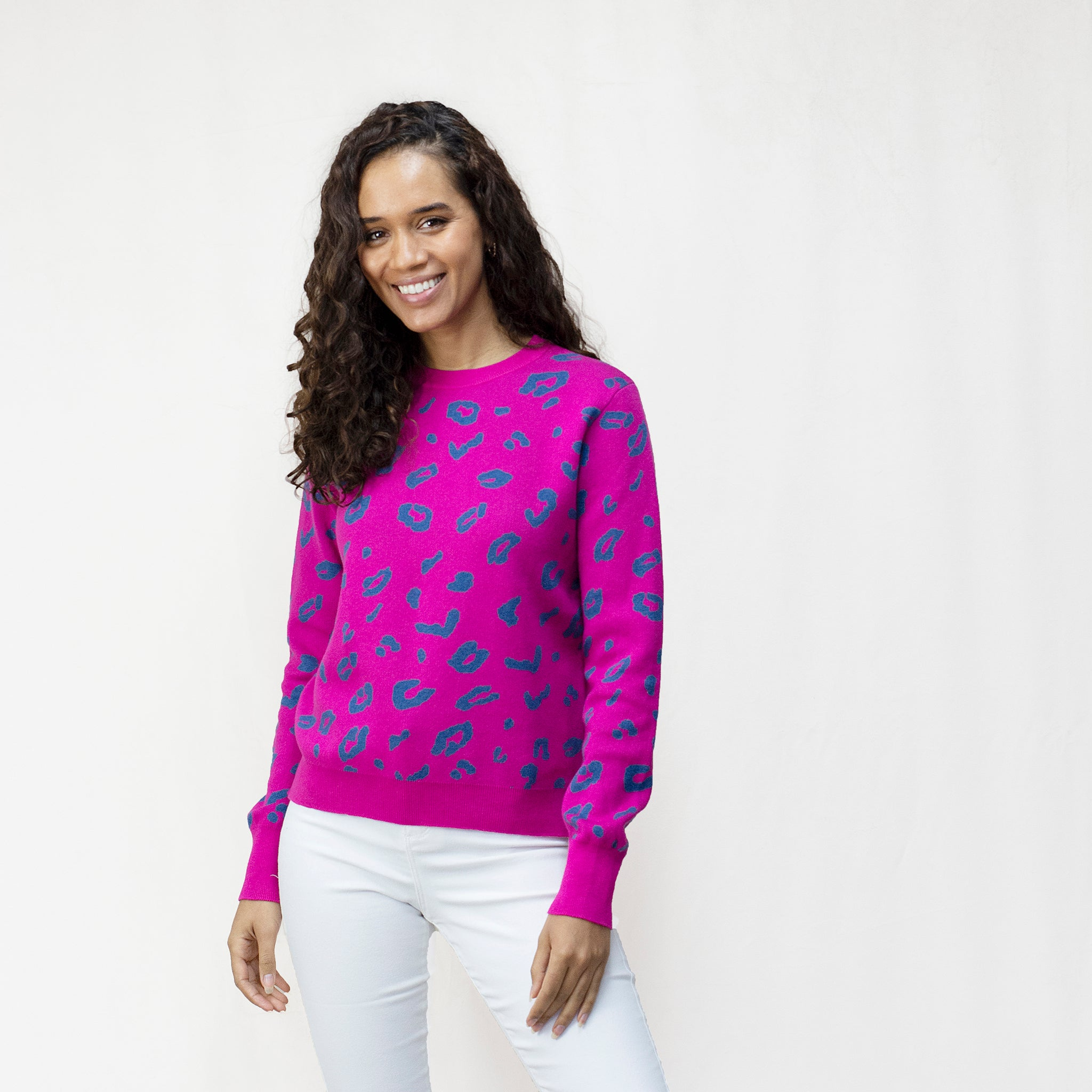 Leopard Print Women's Crew Neck Jumper