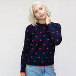 Womens Cotton Cashmere Merino Wool Spot Jumper