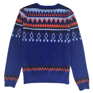 Womens cotton cashmere merino wool abstract fairisle crew neck Jumper