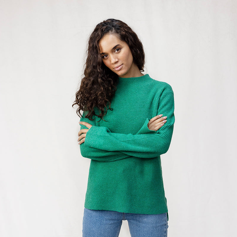 Turtle Neck Ribbed Wool Jumper