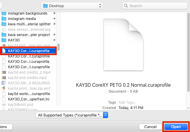 Importing KAY3D Labs Cura Profile