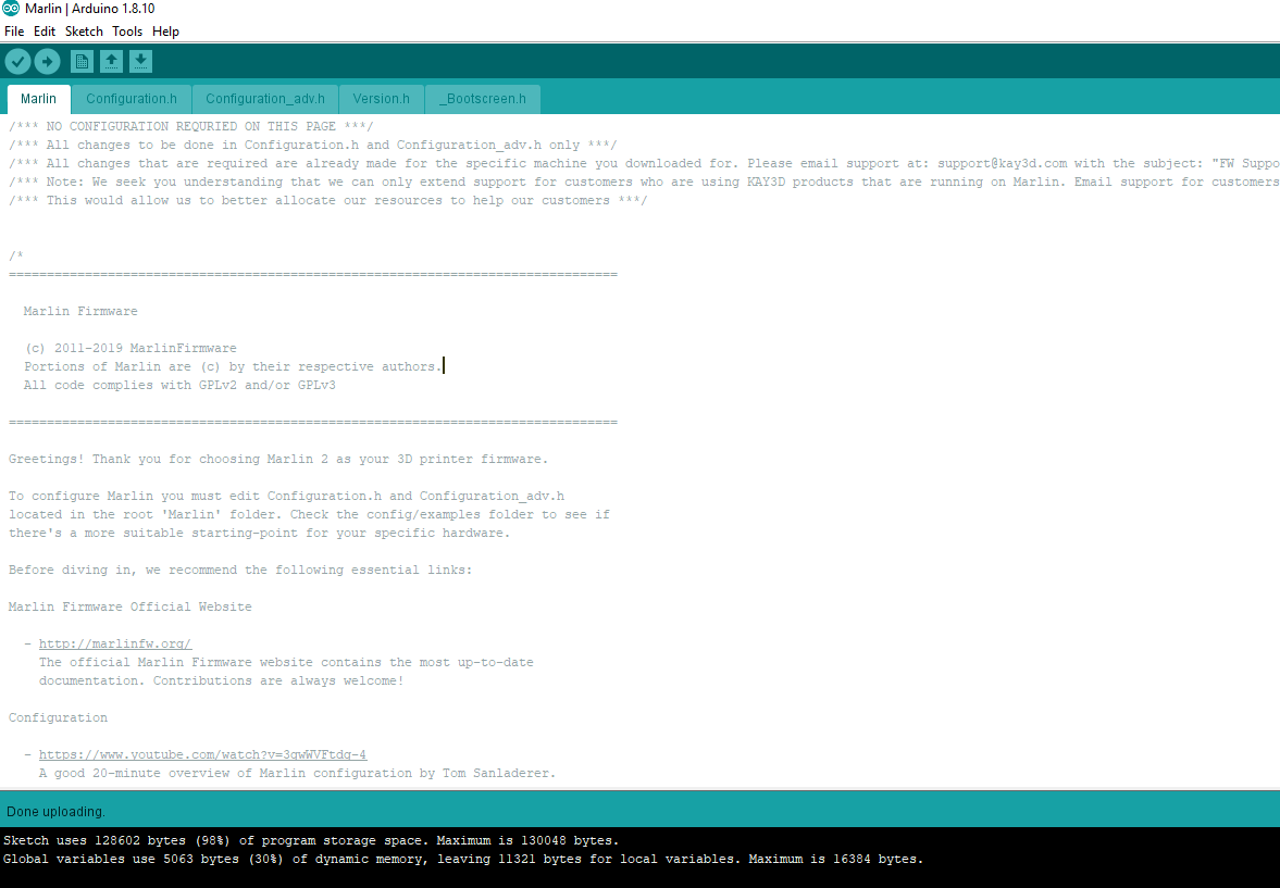 done uploading messaging in Arduino IDE