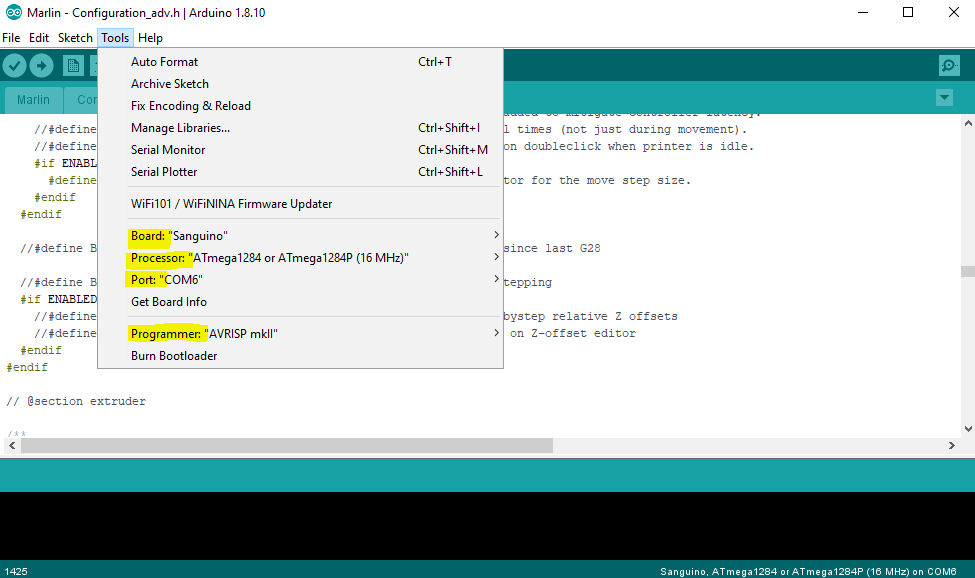 Check for Arduino IDE settings before flashing