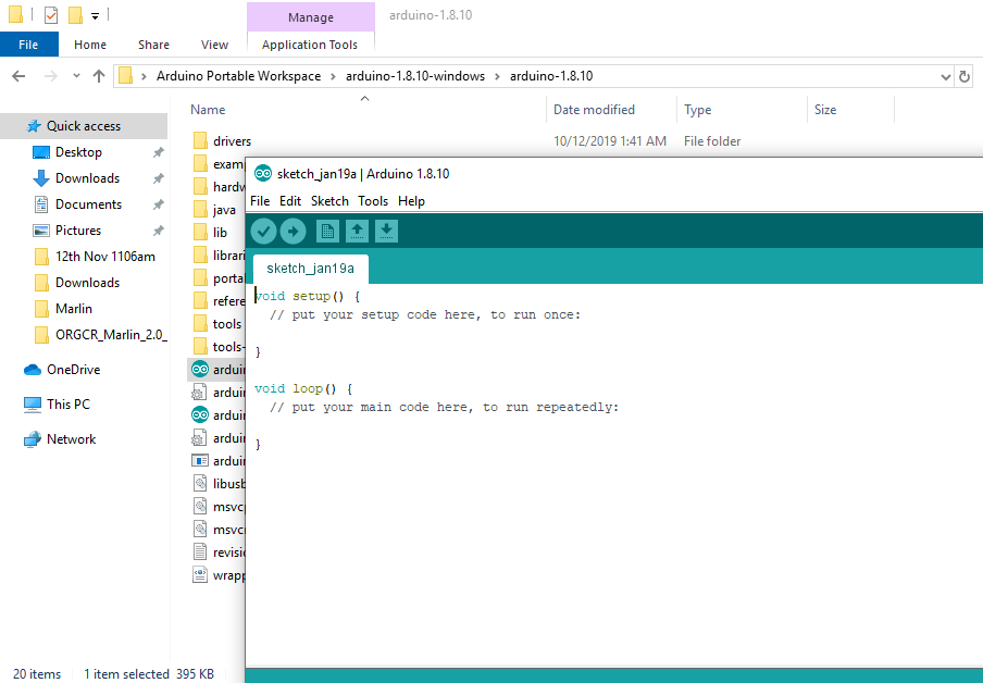 KAY3D portable arduino IDE opened