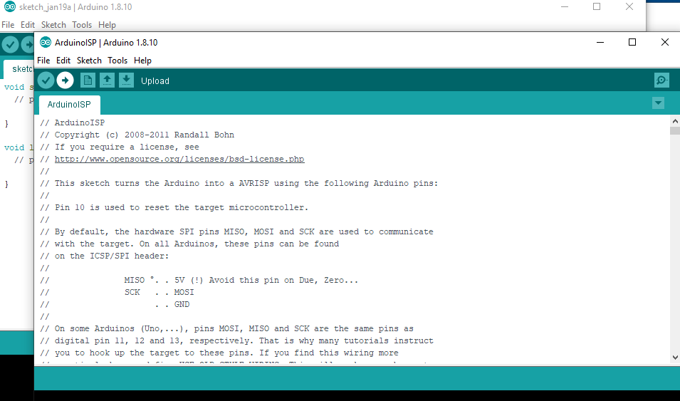 Set up Arduino Uno as programmer by clicking on upload button