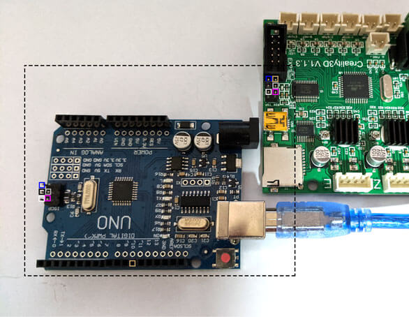 Connect Arduino Uno to Creality Motherboard using Jumper wires in following colors