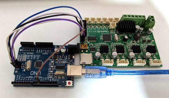 Connected Arduino Uno to Creality board with jumper wires with pin 10