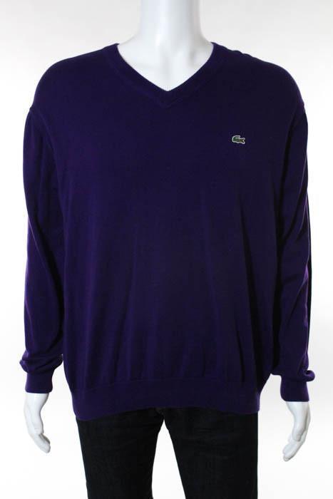 6 Purple Size Linda Sweater Over Pull Cotton Lacoste Mens V Neck W29eEIYHDb