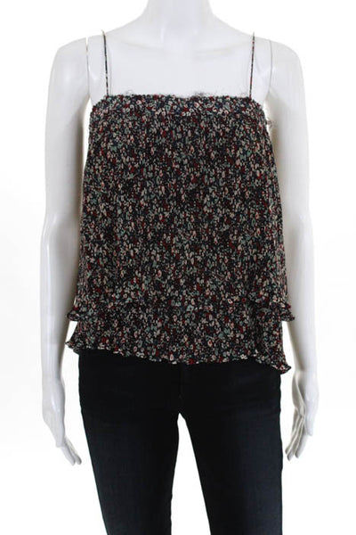 c12d3541 10 Crosby Derek Lam Multi Colored Floral Print Tiered Tank Top Size 8