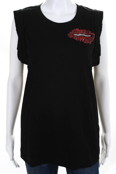 1b0ed267 3.1 Phillip Lim Womens Top Size Large Black Cotton Crystal Lips Scoop Neck
