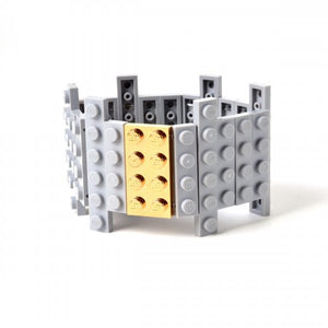 Lego flat bracelet with gold plated brick
