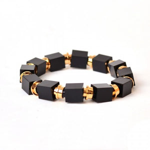 Lego beaded bracelet with gold plated bricks