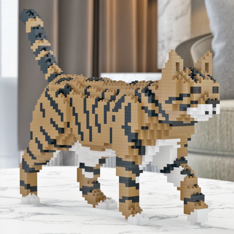 Brown Tabby Cat Building Blocks Sculpture