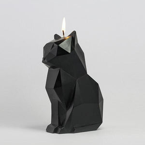 Skeleton Cat Candle in Black