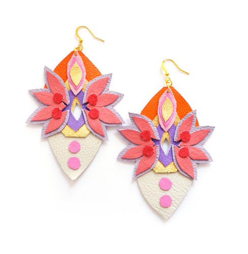 Rhinestone leather earrings