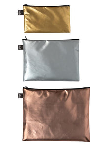 Metallic Mat Zip Pockets