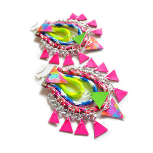 Neon Hoop leather earrings