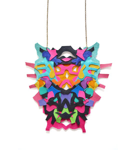 Rorschach leather necklace