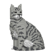 Grey Tabby Cat Building Blocks Sculpture