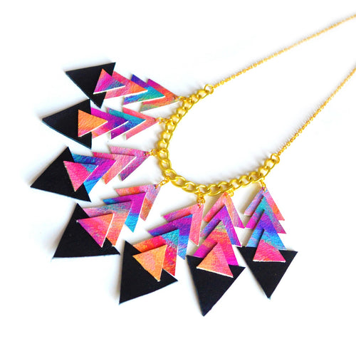 Chevron leather necklace