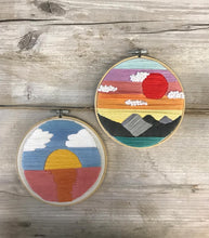 Sunset Hand Stitched Embroidered Hoop by Untalented Giraffe
