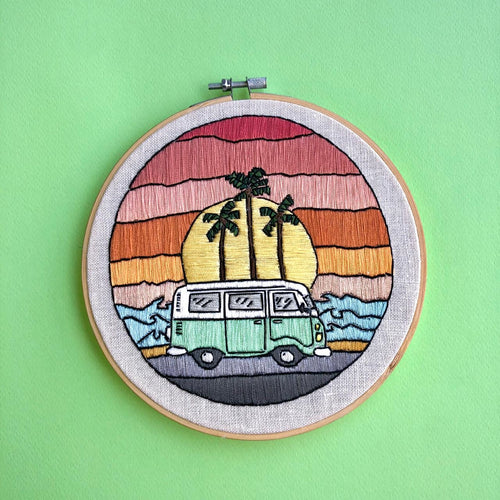 Sunset Van Hand Stitched Embroidered Hoop by Untalented Giraffe