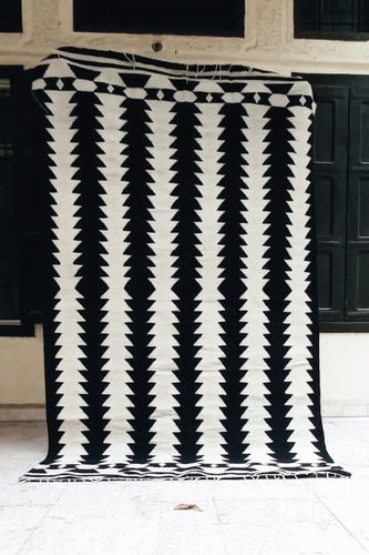 Black Zipper Handmade Kilim Carpet by Sumak