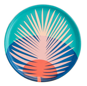 Sunset Leaf Round Tray