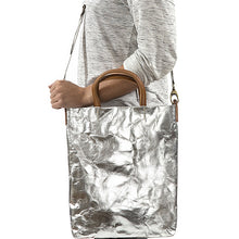 Otti Metallic Washable Paper Bag In Silver