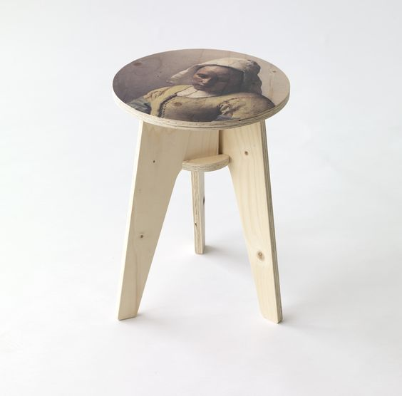 Milkmaid Plywood Printed Stool