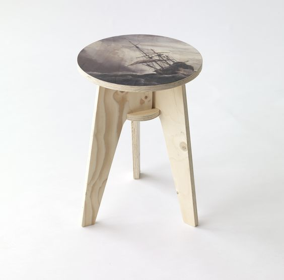 A Ship on High Seas Plywood Printed Stool