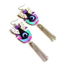 Pop Art eye leather earrings