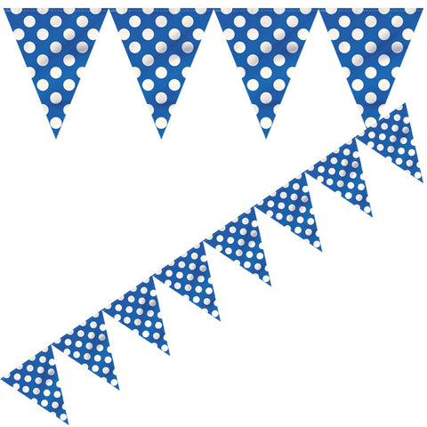 Polka Dot Flag Banner Blue