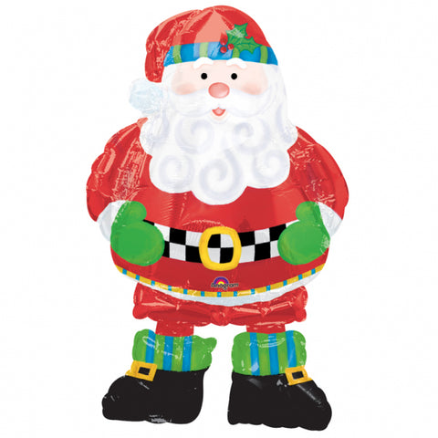 94Cm Whimsical Giant Santa Air-Walker Foil Balloon Walking Standing Inflatable Party Decor