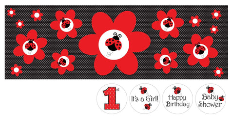 Ladybug Fancy Giant Party Banner With Stickers 6Ct