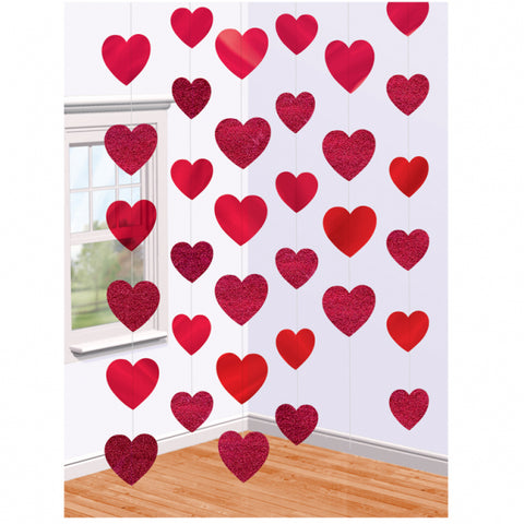 Red Hearts Hanging Ceiling String Decoration 6 Per Pack