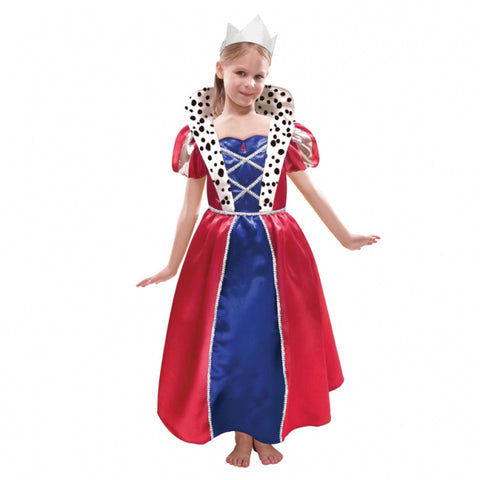 Children Queen Dress & Crown Costume - Age 6 -8 Years