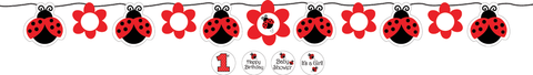 Ladybug Fancy Circle Ribbon Party Banner With Stickers