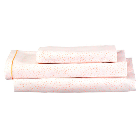 Coral Dot Single Sheet Set