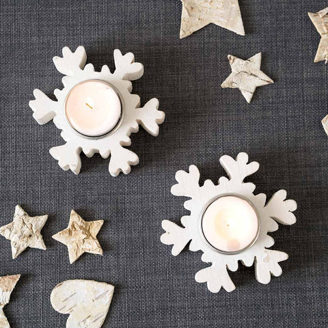 Tables Nordic Tlight Hlder Nordic Christmas Wooden Snowflake Tealight Holder, White