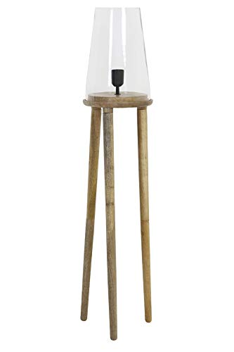 Floor Lamp Novan Glass Wood Natural