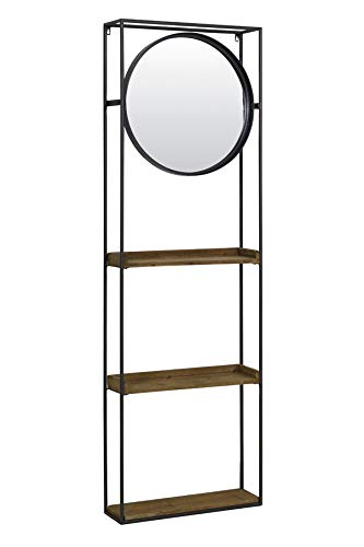 Wall Rack with Mirror Wall Rack Daiya Black