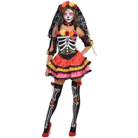 Womens Day Of The Dead Senorita Costume Size X Large (14-16)