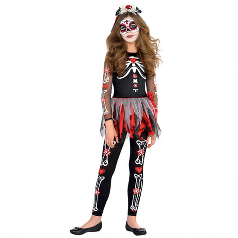 Teens Scared To The Bone Day Of The Dead Costume  Age 1416 Years